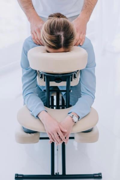 Woman Receiving Chair Massage
