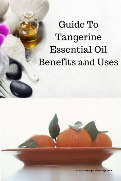 Aromatherapy supplies with the words Guide To Tangerine Essential Oil Benefits and Uses and photo of tangerines.