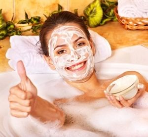 Woman Taking Aromatherapy Bath