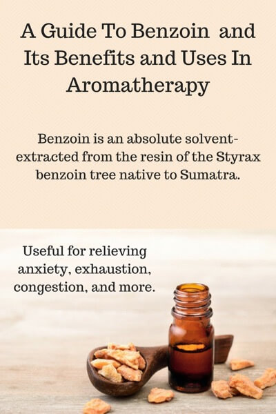 A Guide To Benzoin Essential Oil and Its Benefits and Uses | Image describes benzoin as an absolute and has a picture of resin and bottle of oil