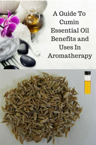 A Guide To Cumin Essential Oil and Its Benefits and Uses | On top, aromatherapy supplies. On bottom, cumin seeds and oil.