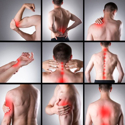 Collage of various pain points on the body | Using Essential Oils for Pain