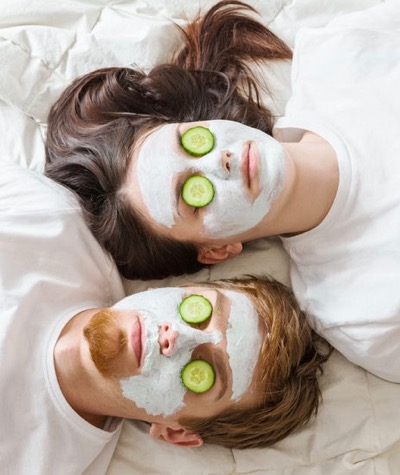 A couple getting face masks for acne.