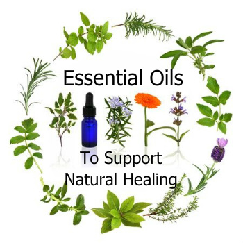 An herb wreath with an essential oil bottle in the middle and the words