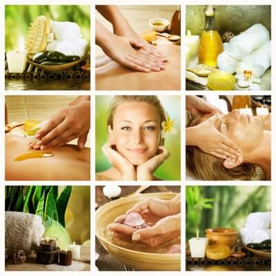 A variety of Spa Massage Treatments in a collage.