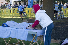 Sports massage at a triathlon.