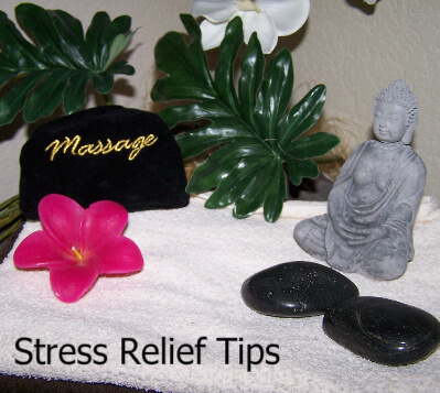 Relaxing items, including plant, flower, massage t-shirt, and Buddha statue with the words Stress Relief Tips