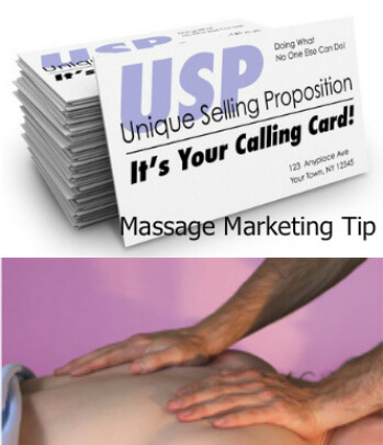 Card that says Unique Selling Proposition and back massage picture | USP For Massage