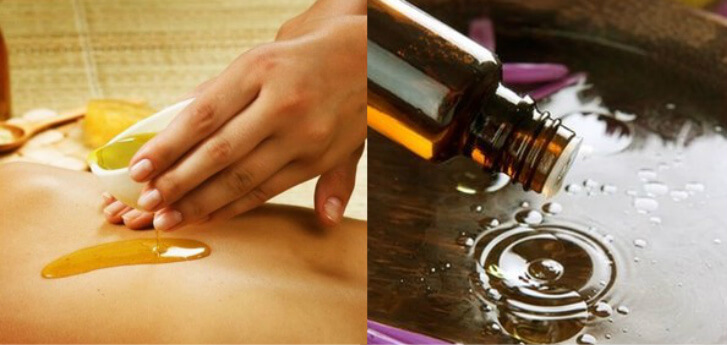 Hands giving a back massage and essential oil dripping into water | Aromatherapy and Massage
