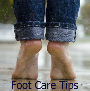 Person with bare feet standing on toes. Text: Foot Care Tips