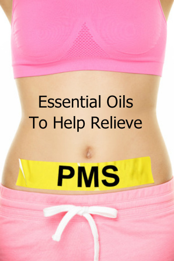 Woman's abdomen with the words Essential Oils to Relieve PMS | PMS Relief Using Essential Oils